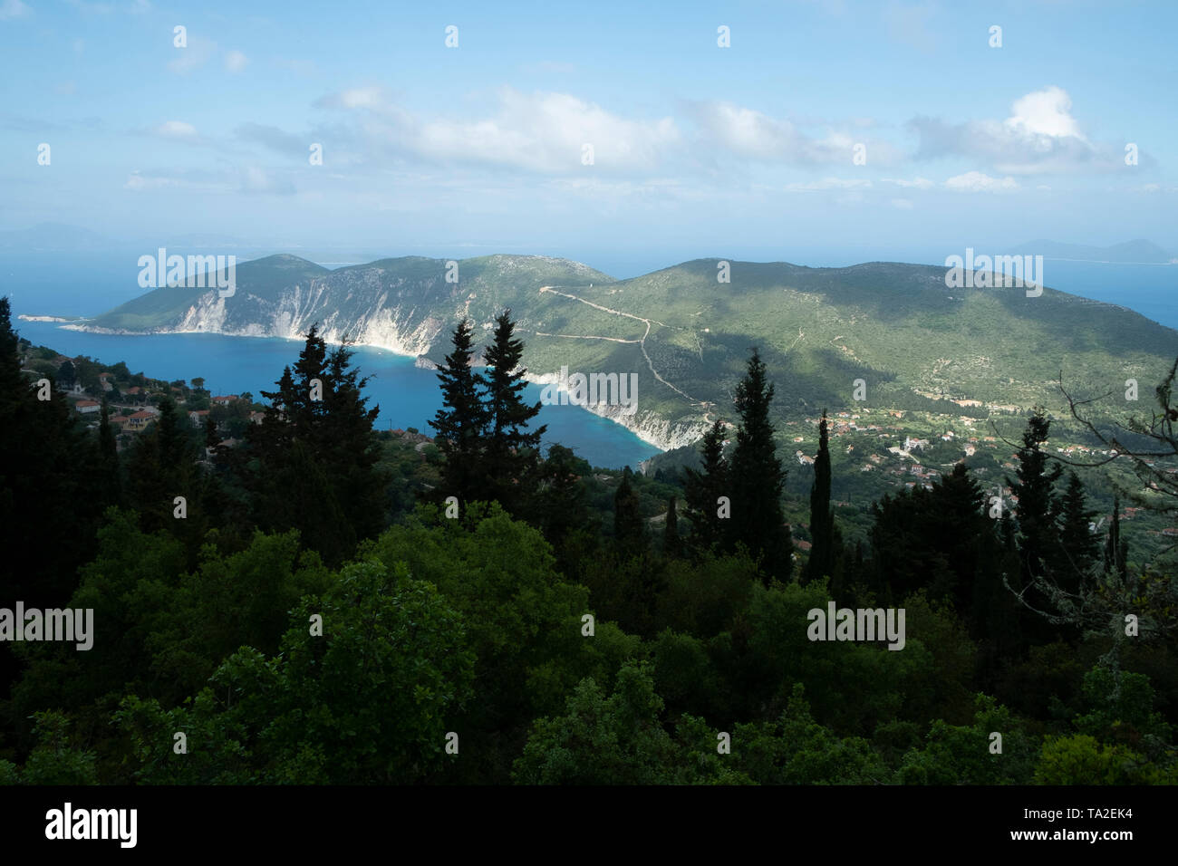 Views around Exogi, Ithaca, Greece. Ithaca, Ithaki or Ithaka is a Greek island located in the Ionian Sea to the west of continental Greece. Ithacas main island has an area of 96 square kilometres. It is the second-smallest of seven main Ionian Islands. - Stock Image