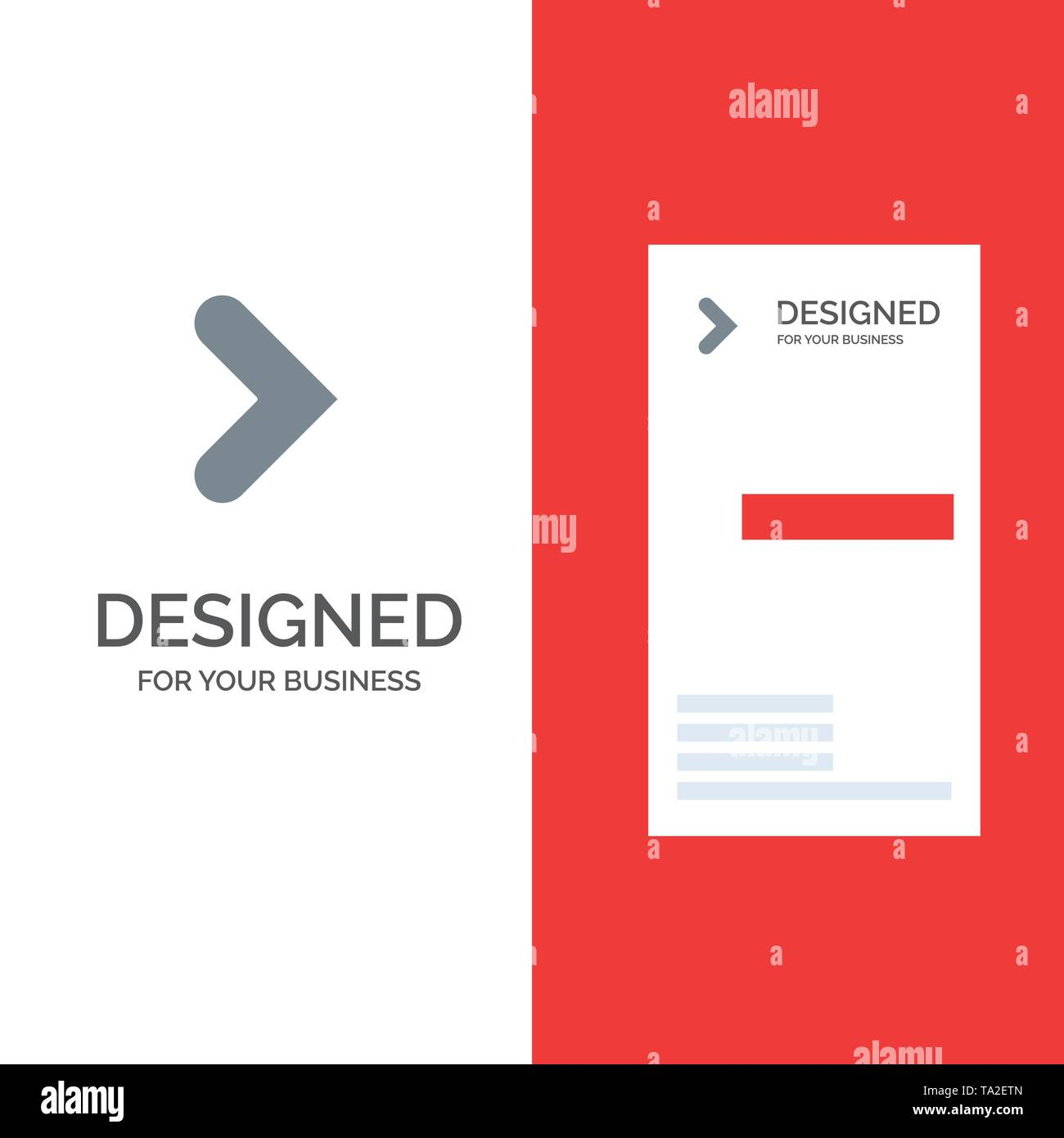 Arrow, Right, Forward, Direction Grey Logo Design and Business Card Template - Stock Image