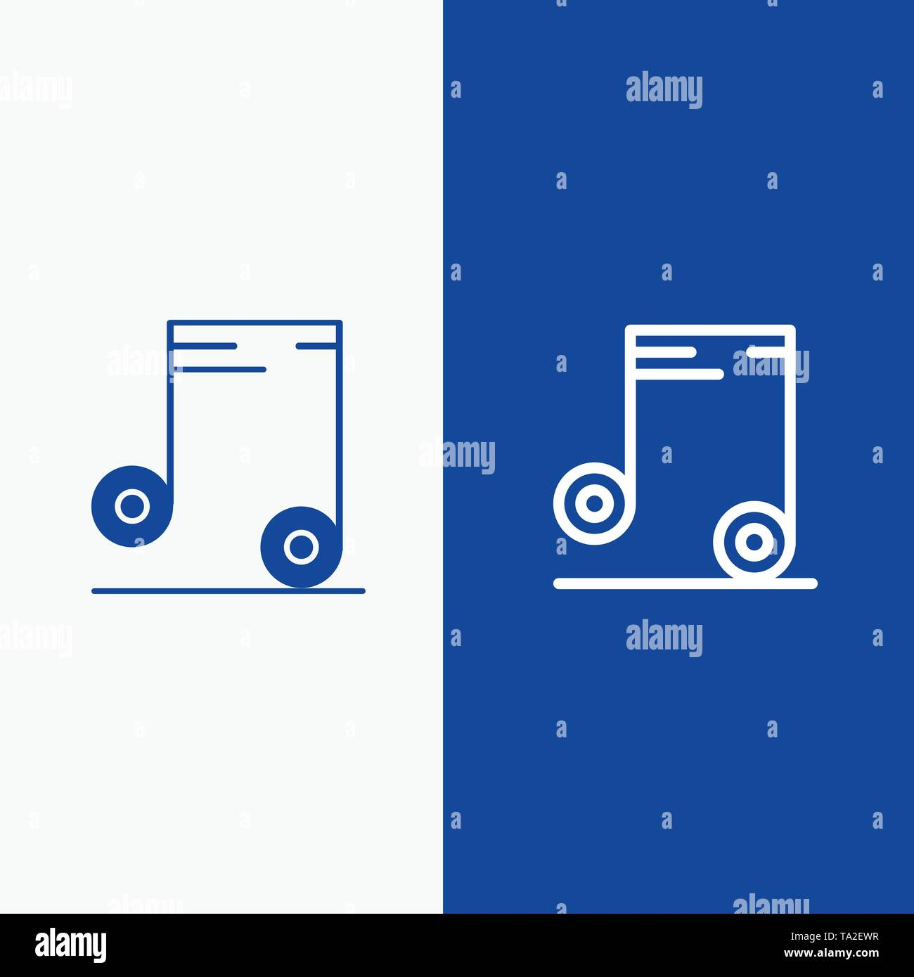 Music, Audio, School Line and Glyph Solid icon Blue banner Line and Glyph Solid icon Blue banner - Stock Image