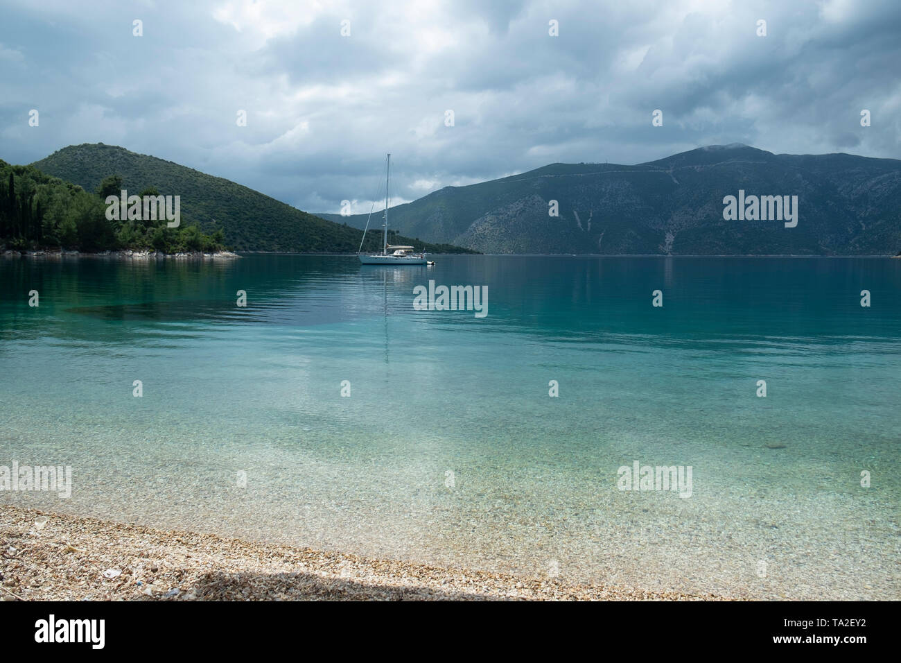 Views at Skinos beach near Vathy, Ithaca, Greece. Ithaca, Ithaki or Ithaka is a Greek island located in the Ionian Sea to the west of continental Greece. Ithacas main island has an area of 96 square kilometres. It is the second-smallest of seven main Ionian Islands. - Stock Image