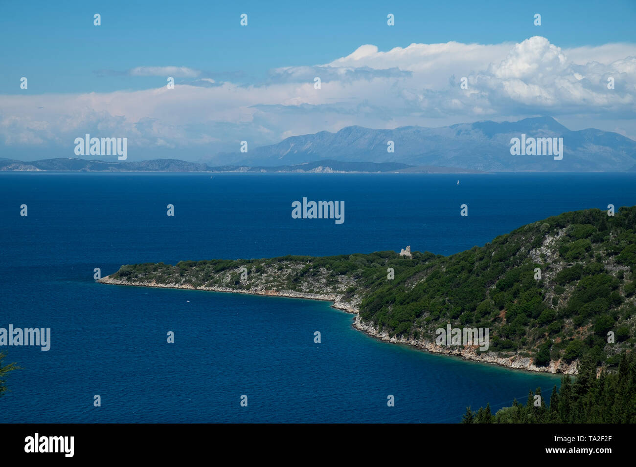 View out across the Ionian Sea towards the nearby islands and mainland at Rachi, near Kioni in Ithaca Greece. Ithaca, Ithaki or Ithaka is a Greek island located in the Ionian Sea to the west of continental Greece. Ithacas main island has an area of 96 square kilometres. It is the second-smallest of seven main Ionian Islands. - Stock Image