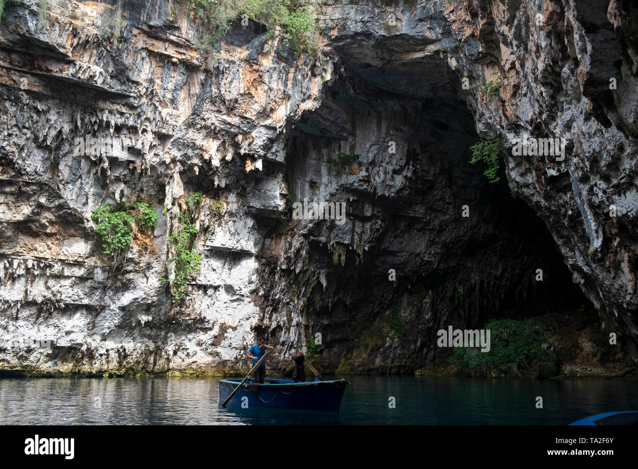 Melissani Lake near Sami, Kefalonia, Greece. Kefalonia is an island in the Ionian Sea, west of mainland Greece. - Stock Image