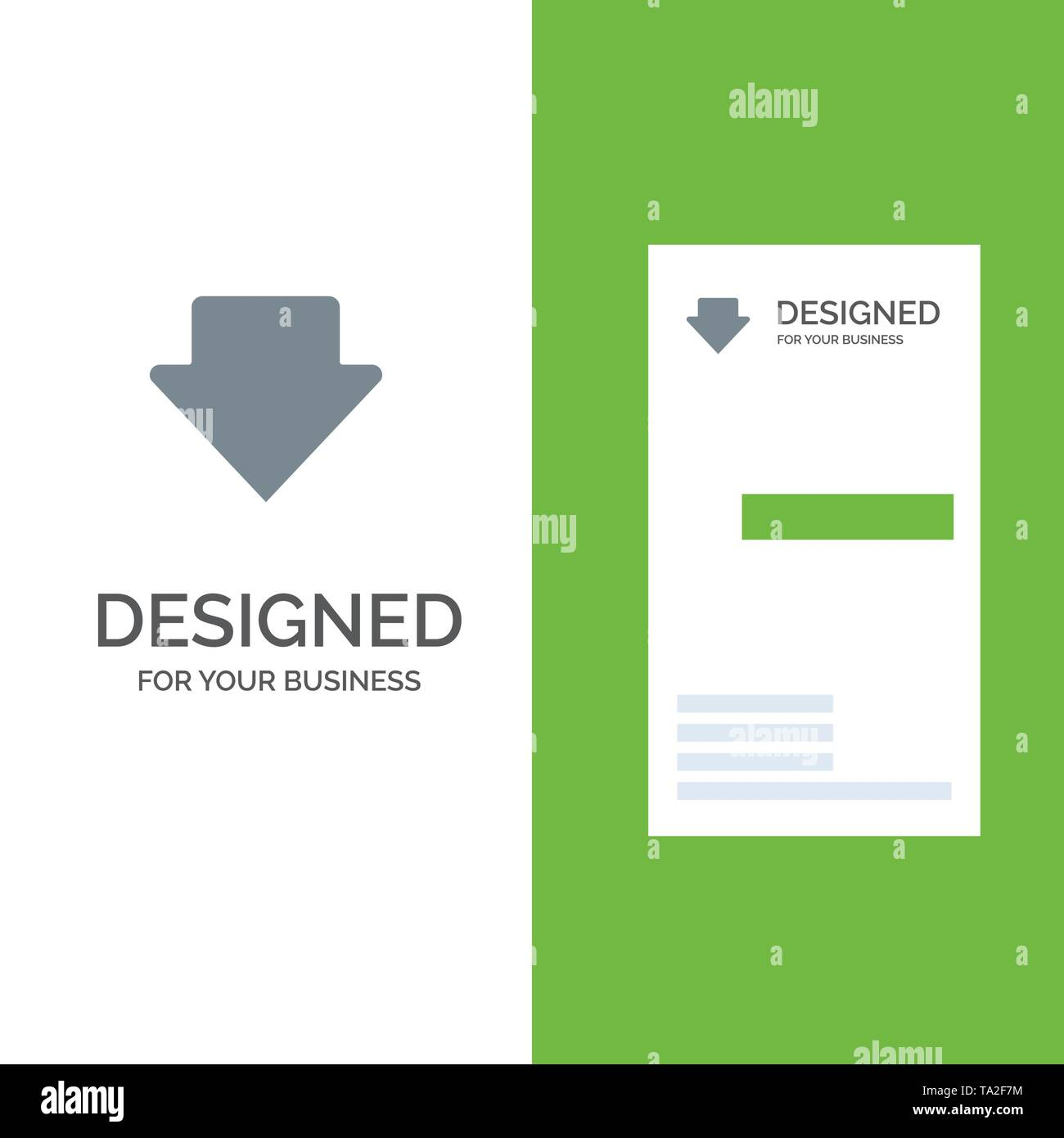 Arrow, Down, Download Grey Logo Design and Business Card Template - Stock Image