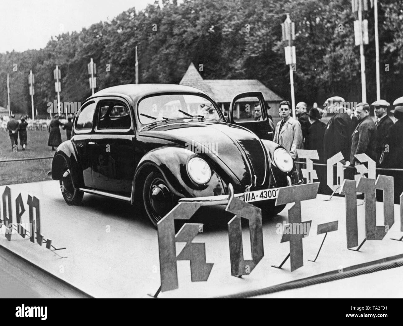 A prototype of the VW Beetle during a propaganda tour at the Treptow Volksfest 1938. - Stock Image