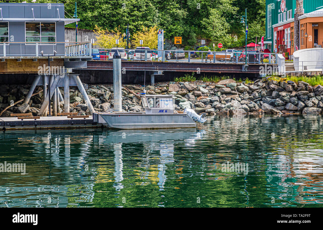 JUNEAU, ALASKA- May 31, 2016:  The City of Juneau is the capital city of Alaska. Juneau's population can increase by roughly 6,000 people from cruise  - Stock Image