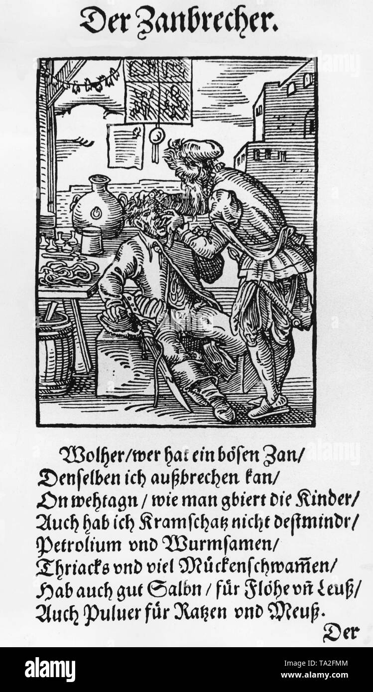 Woodcut by Jost Amman and printed by Hans Sachs in Frankfurt. A dentist pulls a tooth from a patient. - Stock Image