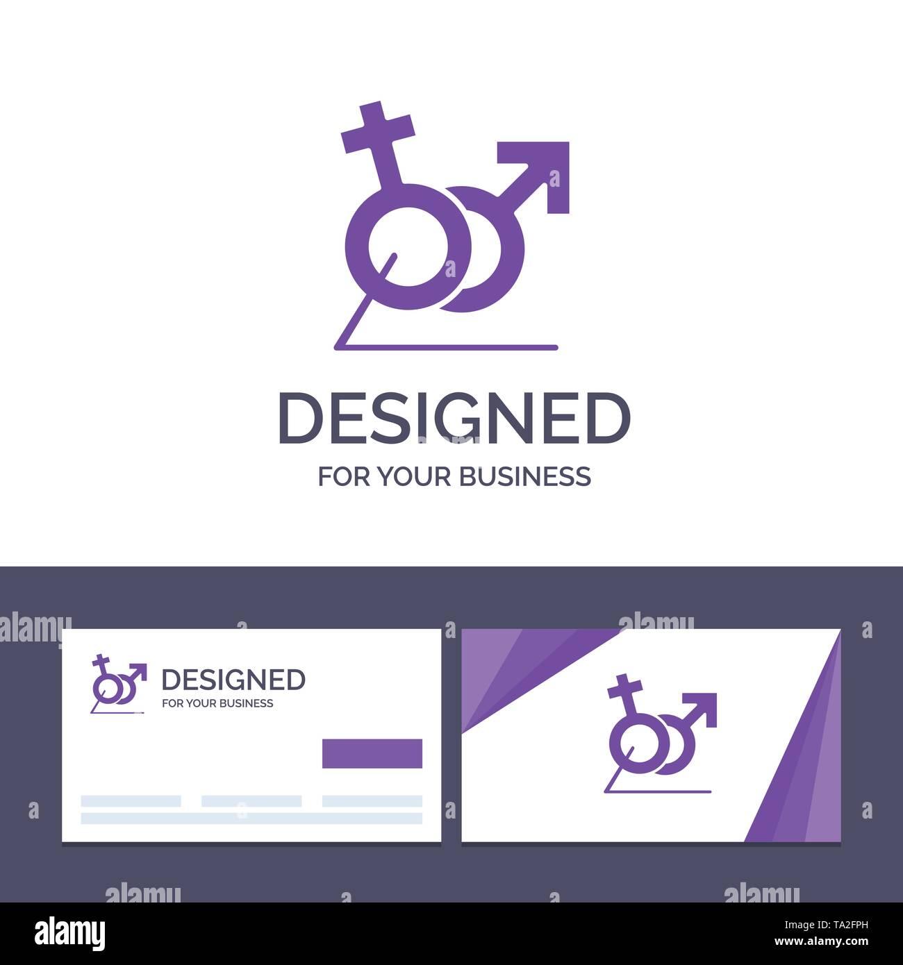 Creative Business Card and Logo template Men, Women, Sign, Gander, Identity Vector Illustration - Stock Image