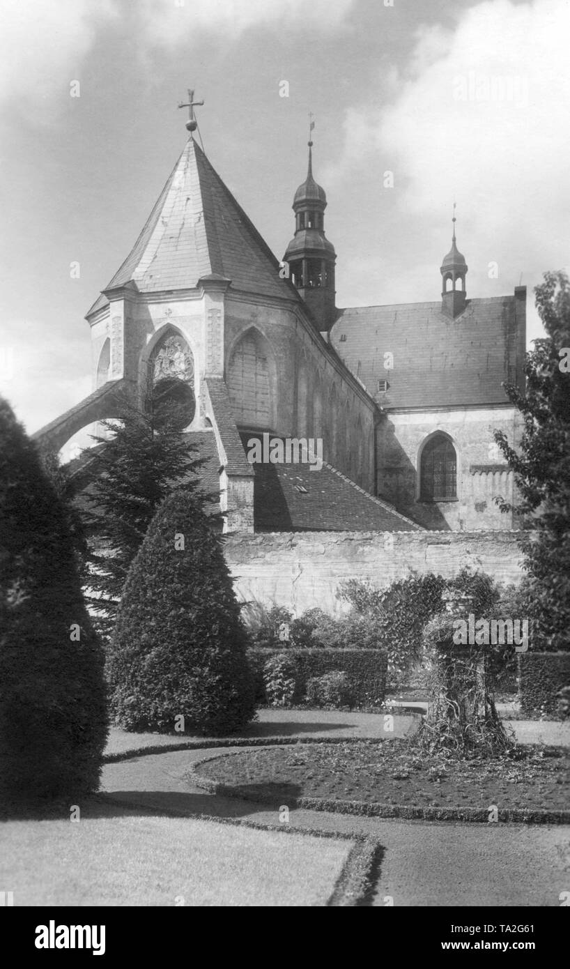 This is a photograph of the Oliwa Cathedral in Gdansk. It is dedicated to The Holy Trinity, Blessed Virgin Mary and St Bernard. The three-nave basilica was built at the end of the 12th century by the Cistercians and belonged to a monastery. In 1925, with the establishment of a diocese by Pope Paul VI, the church was raised to the dignity of a cathedral. - Stock Image
