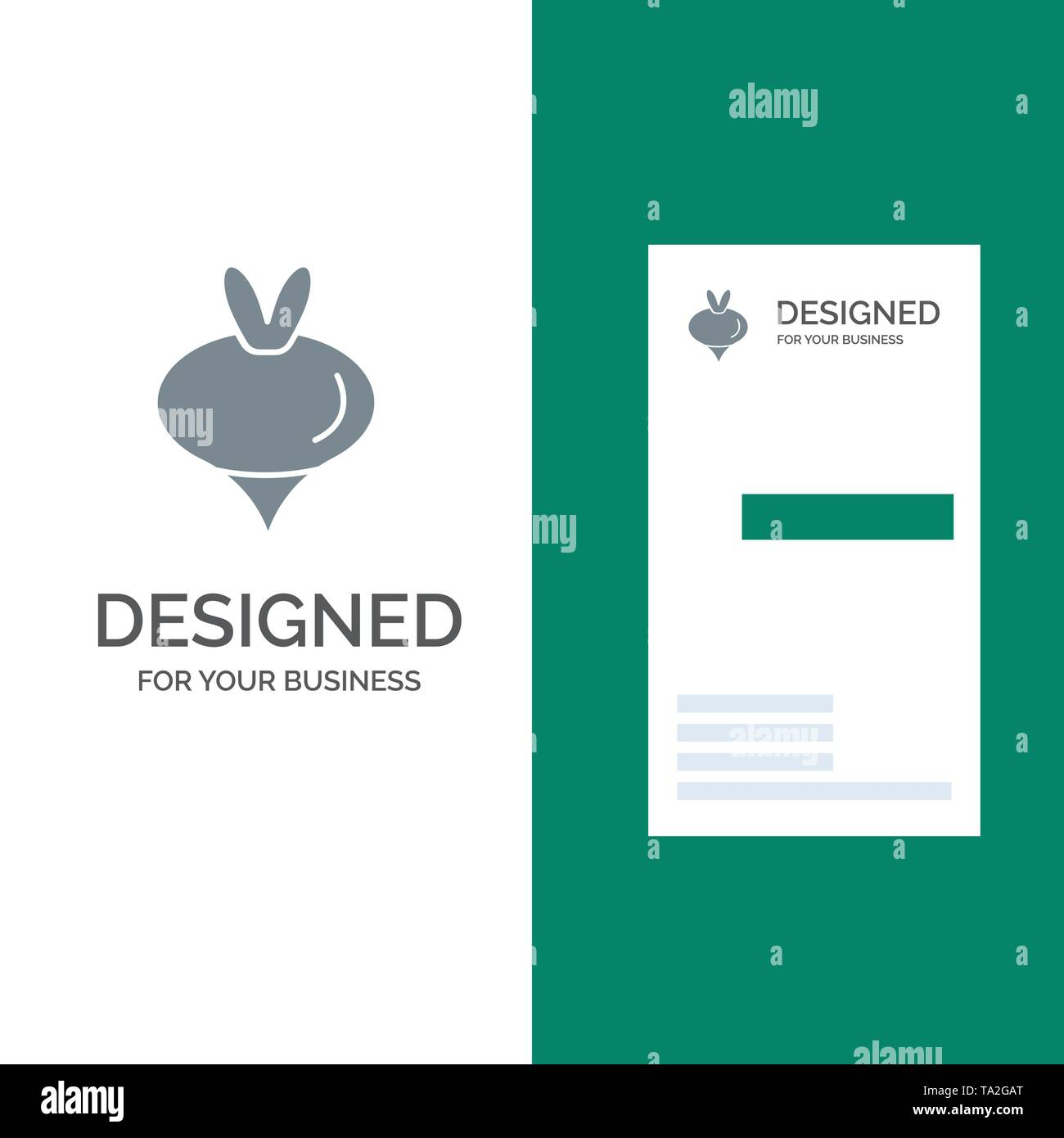 Food, Turnip, Vegetable, Spring Grey Logo Design and Business Card Template - Stock Image
