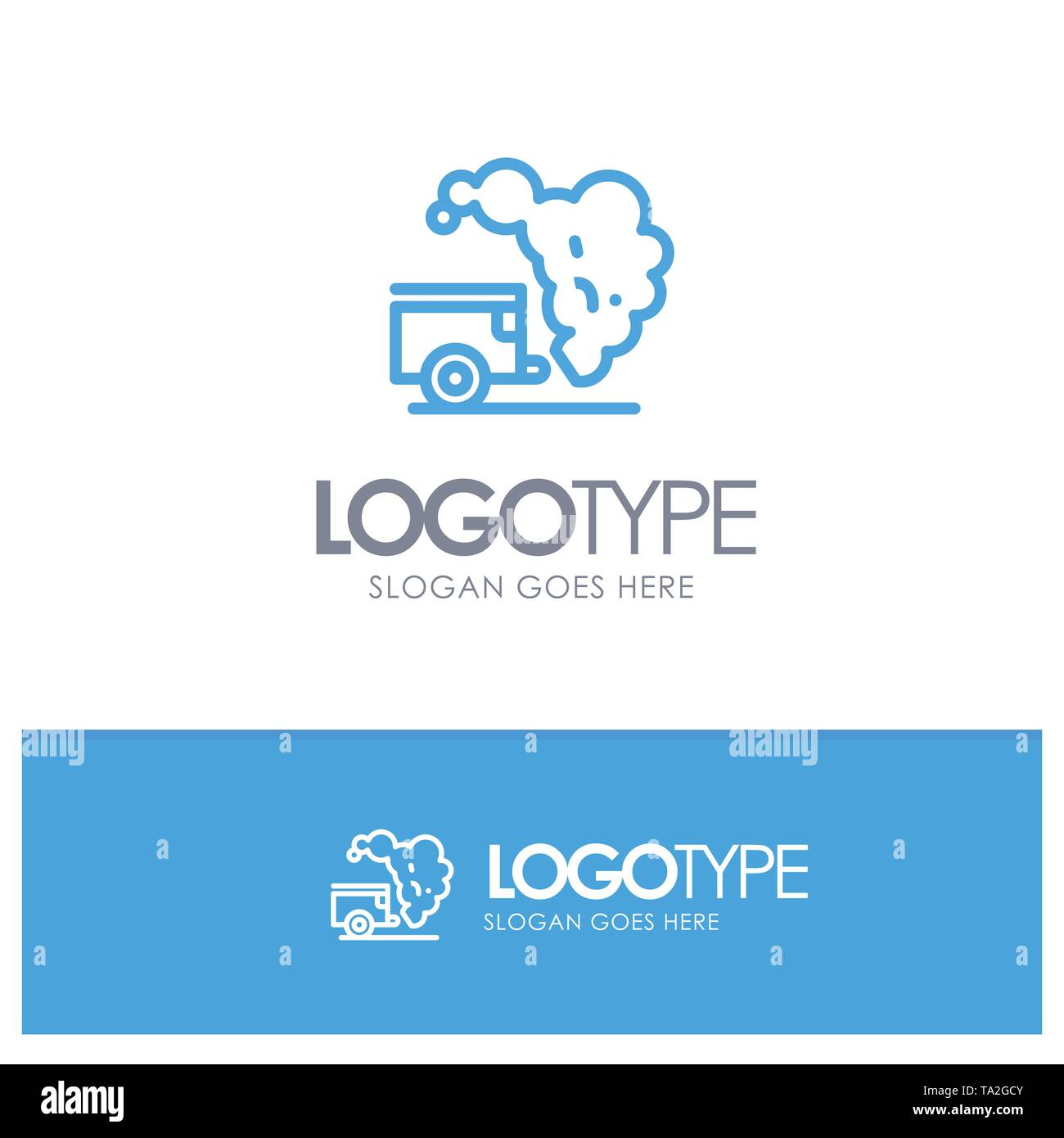 Dump, Environment, Garbage, Pollution Blue outLine Logo with place for tagline - Stock Image
