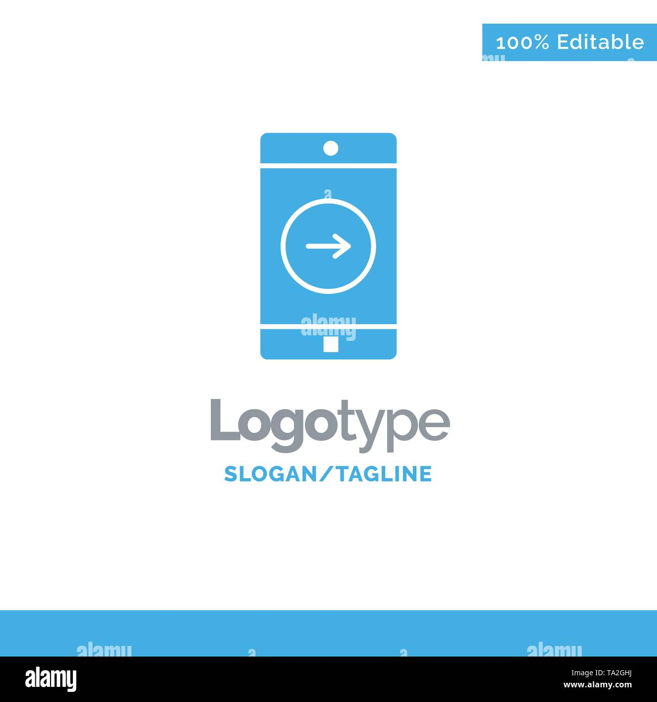 Application, right, Mobile, Mobile Application Blue Solid Logo Template. Place for Tagline - Stock Image