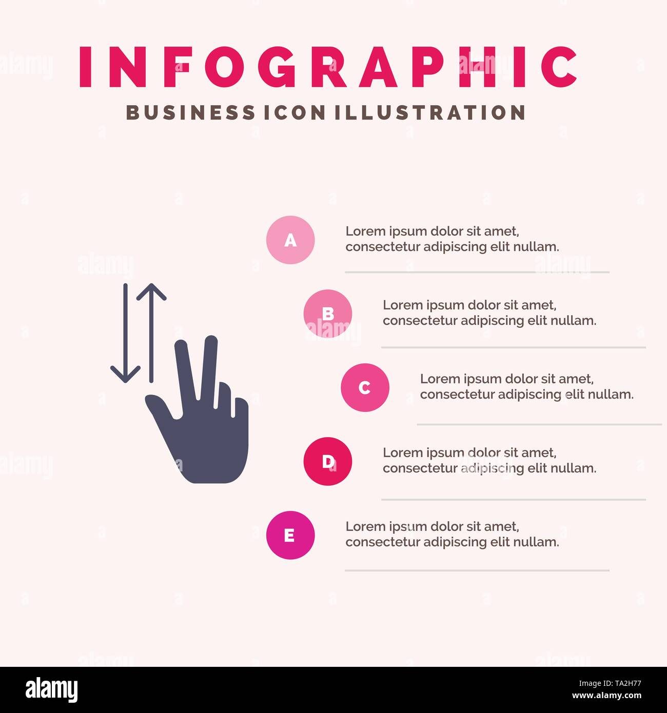 Finger, Gestures, Two, Up, Down Solid Icon Infographics 5 Steps Presentation Background - Stock Image