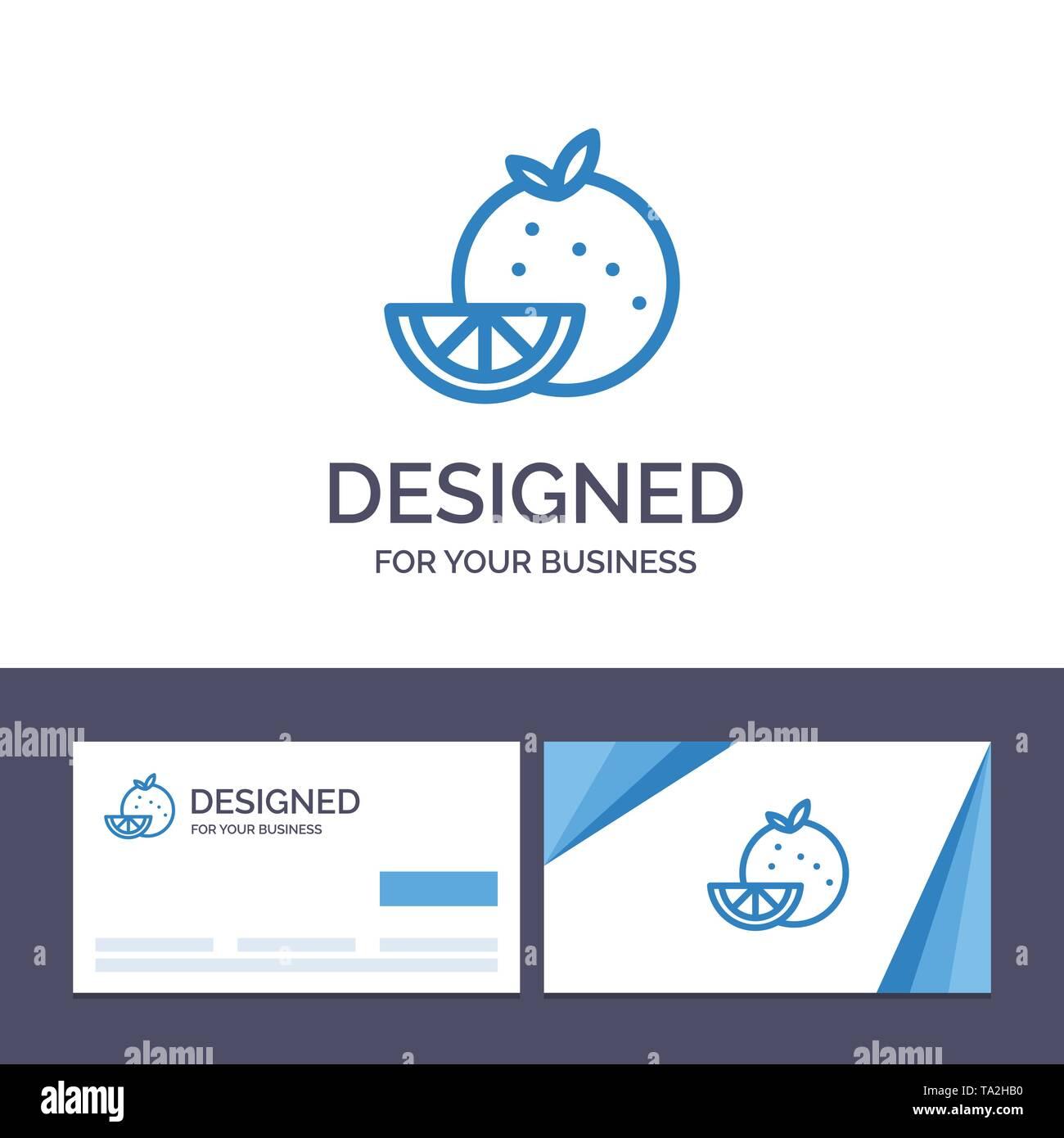 Creative Business Card and Logo template Orange, Food, Fruit, Madrigal Vector Illustration - Stock Image