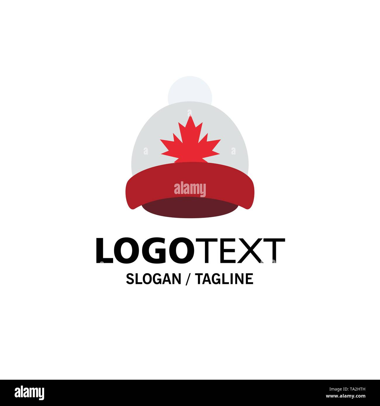 Hat, Cap, Leaf, Canada Business Logo Template. Flat Color - Stock Image