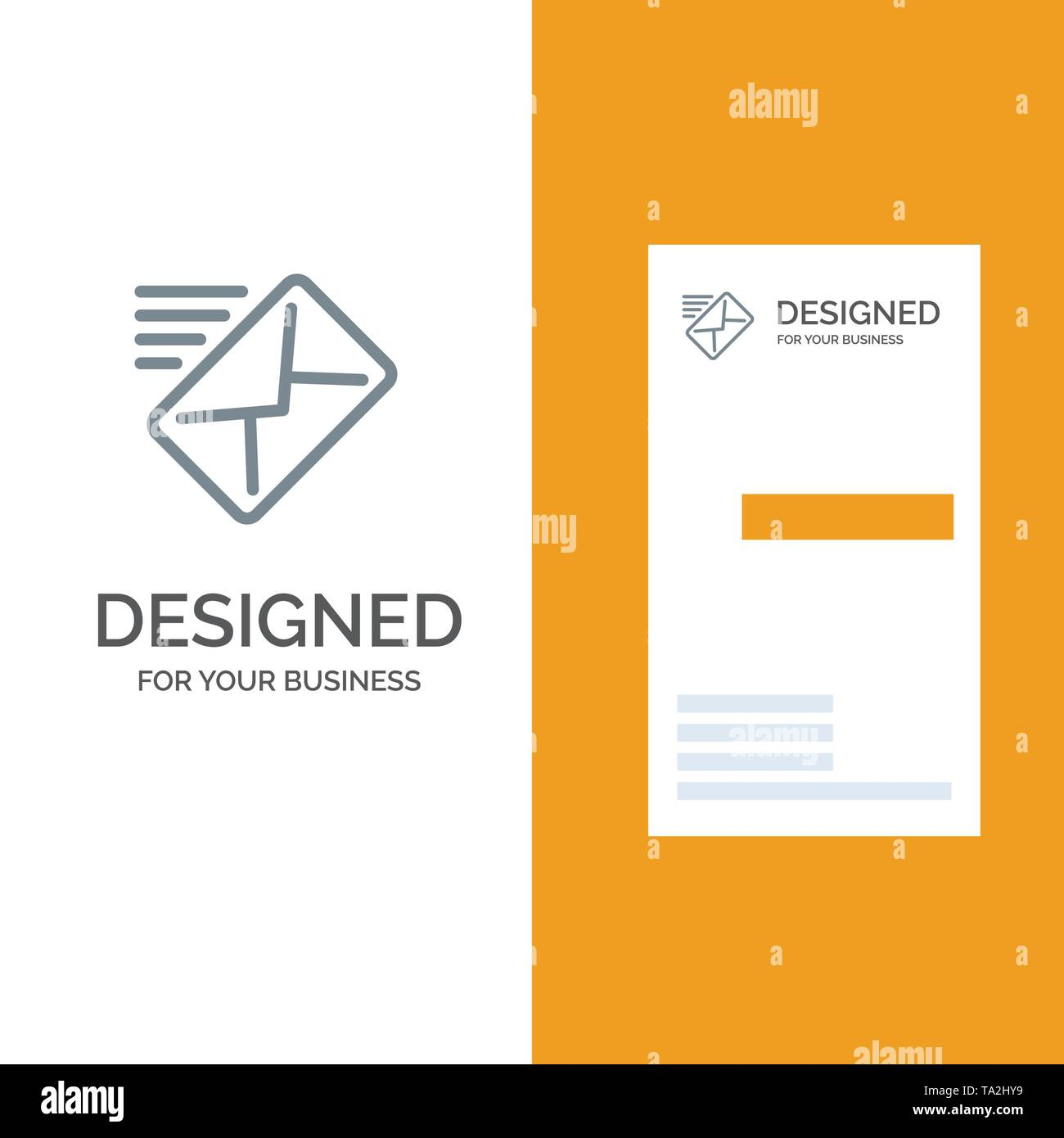 Email, Mail, Message, Sent Grey Logo Design and Business Card Template - Stock Image