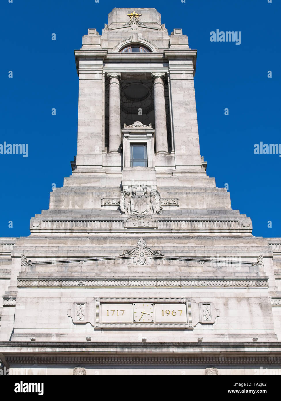 Close-up of the iconic Freemason Hall, the headquarters of the United Grand Lodge and Supreme Grand Chapter of Royal Arch Masons of England. - Stock Image