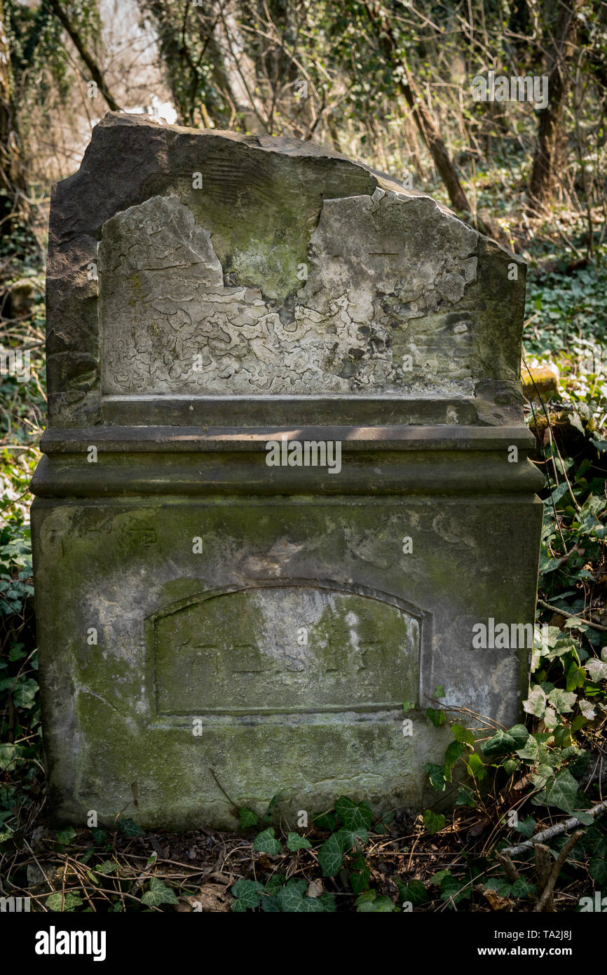close up of old jewish matzevah on graveyard - Stock Image