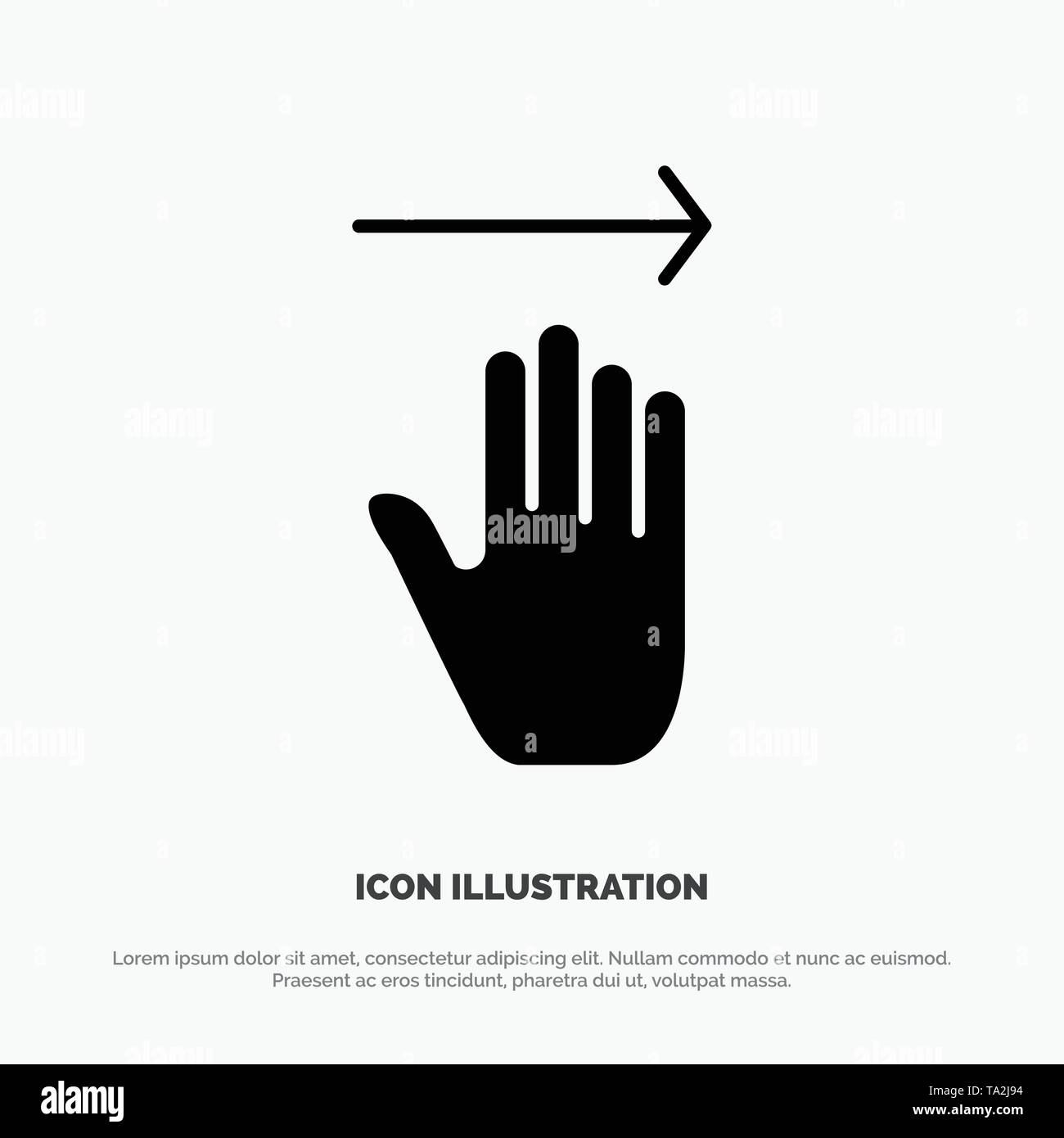 Hand, Arrow, Gestures, right solid Glyph Icon vector - Stock Image