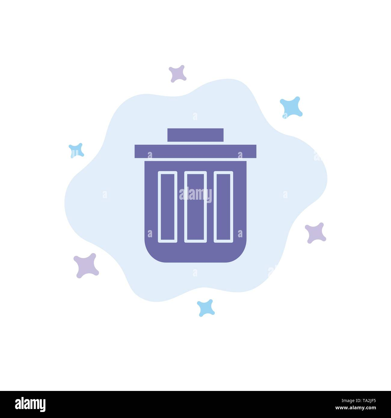 Trash, Basket, Bin, Can, Container, Dustbin, Office Blue Icon on Abstract Cloud Background - Stock Image