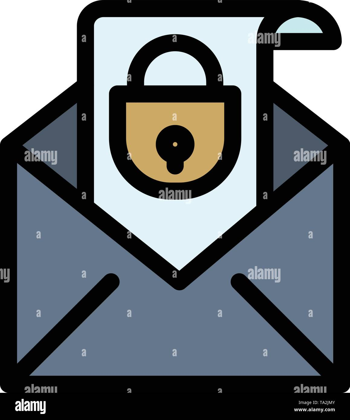 Mail, Email, Message, Security  Flat Color Icon. Vector icon banner Template - Stock Image