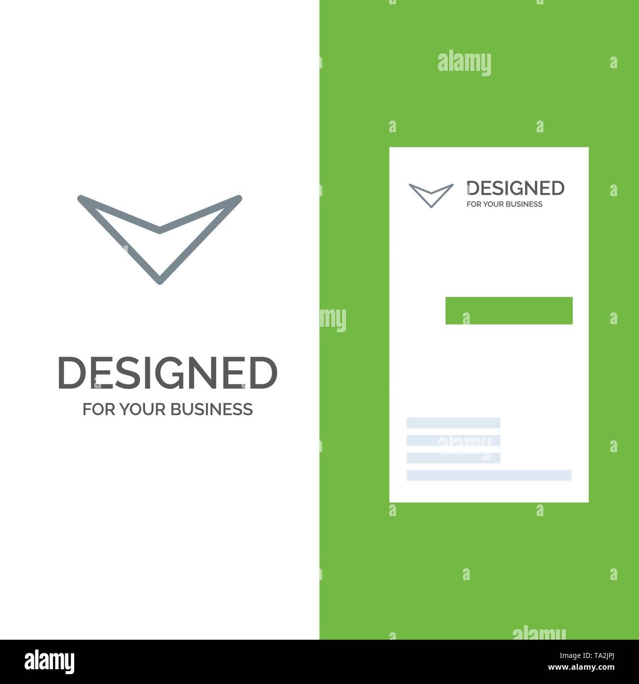 Arrow, Down, Next Grey Logo Design and Business Card Template - Stock Image