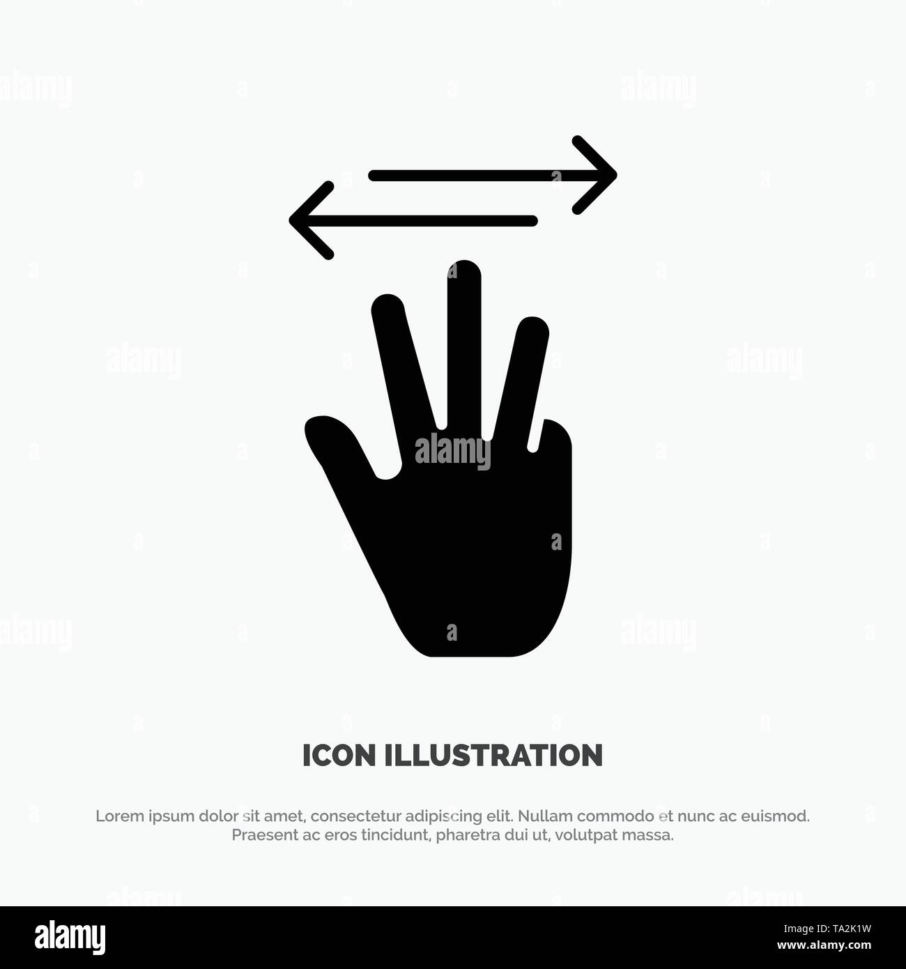 Hand, Hand Cursor, Up, Left, Right solid Glyph Icon vector - Stock Image