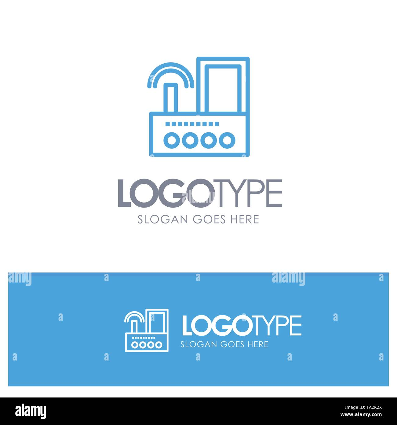 Router, Device, Signal, Wifi, Radio Blue outLine Logo with place for tagline - Stock Image
