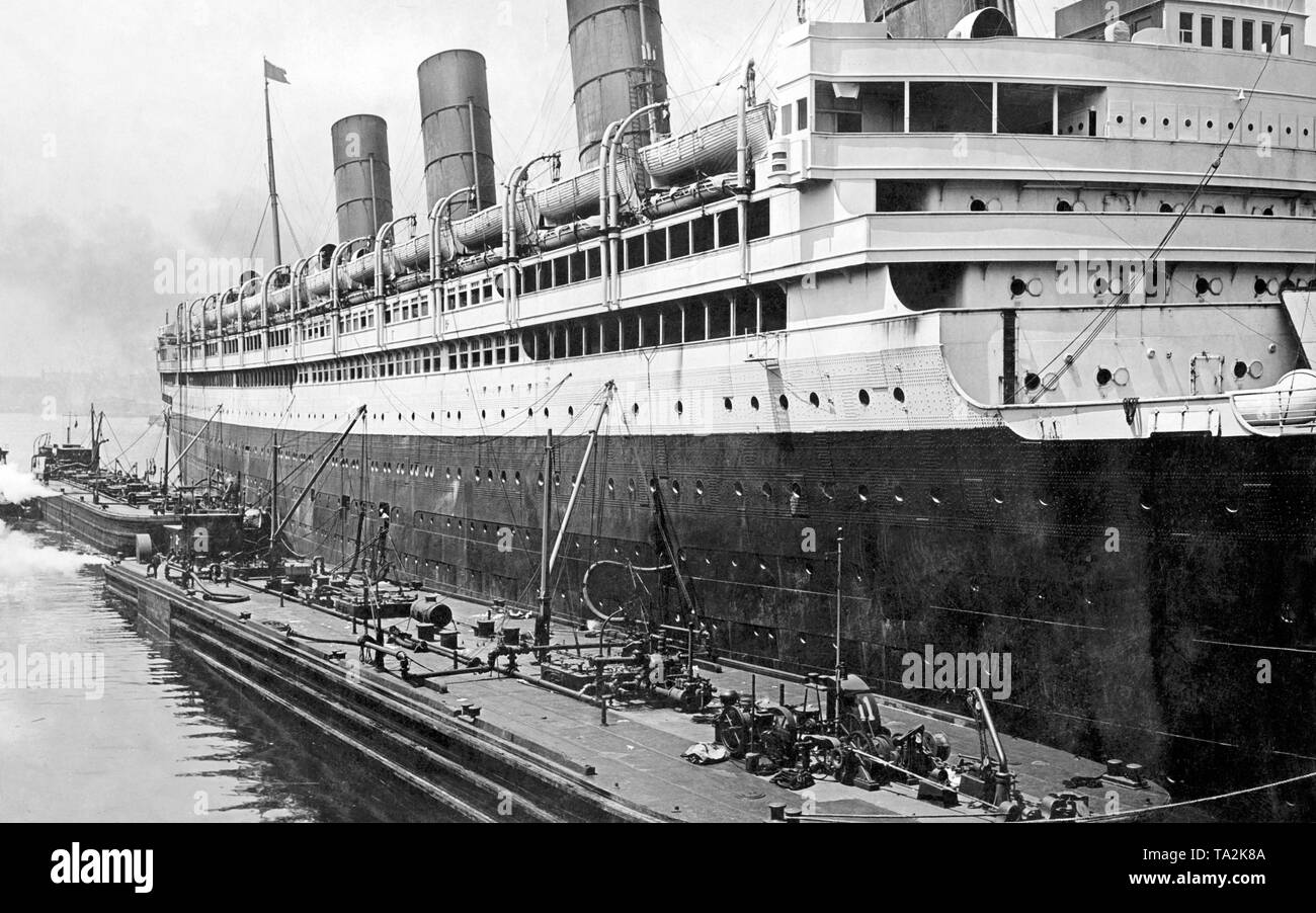 The ocean liner RMS Aquitania of the Cunard shipping company