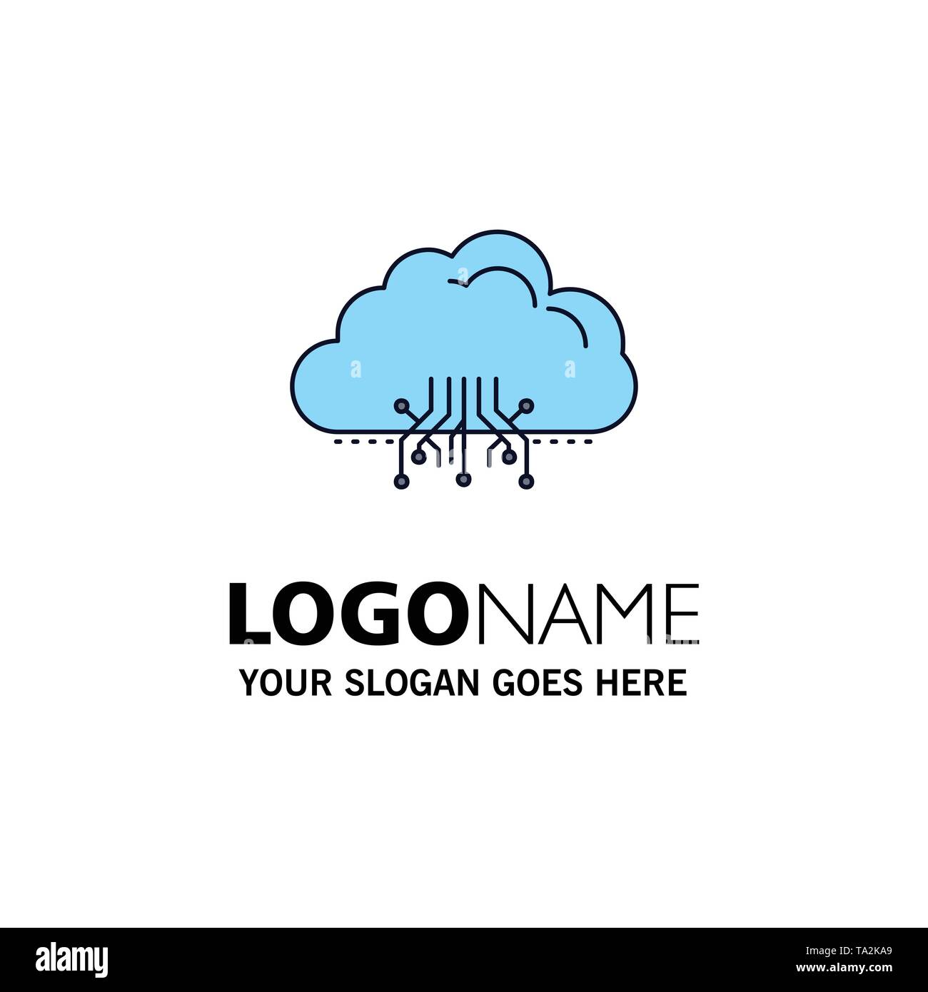 cloud, computing, data, hosting, network Flat Color Icon Vector - Stock Image