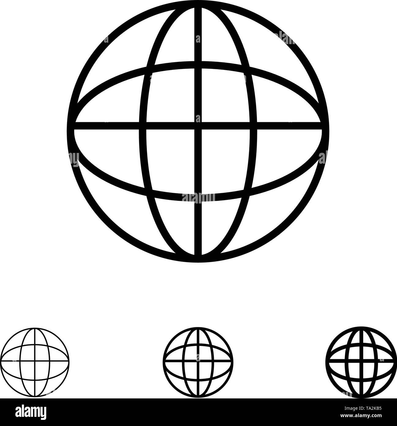 Global, Location, Internet, World Bold and thin black line icon set - Stock Image