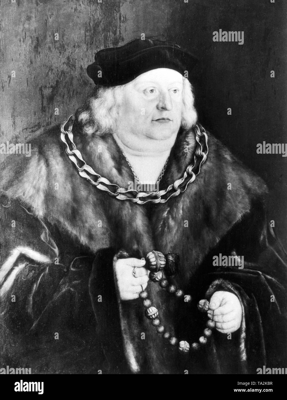 This painting by Barthel Beham depicts the Duke of Bavaria-Munich, Albrecht IV 'The Wise'. Albrecht issued the so-called Primogeniturgesetz (primogeniture law) that stipulated the indivisibility of the Duchy of Bavaria. He lived from 1477 to 1508. Undated painting, probably painted in the 1520s. Nowadays it is displayed in the Bavarian State Painting Collections. - Stock Image