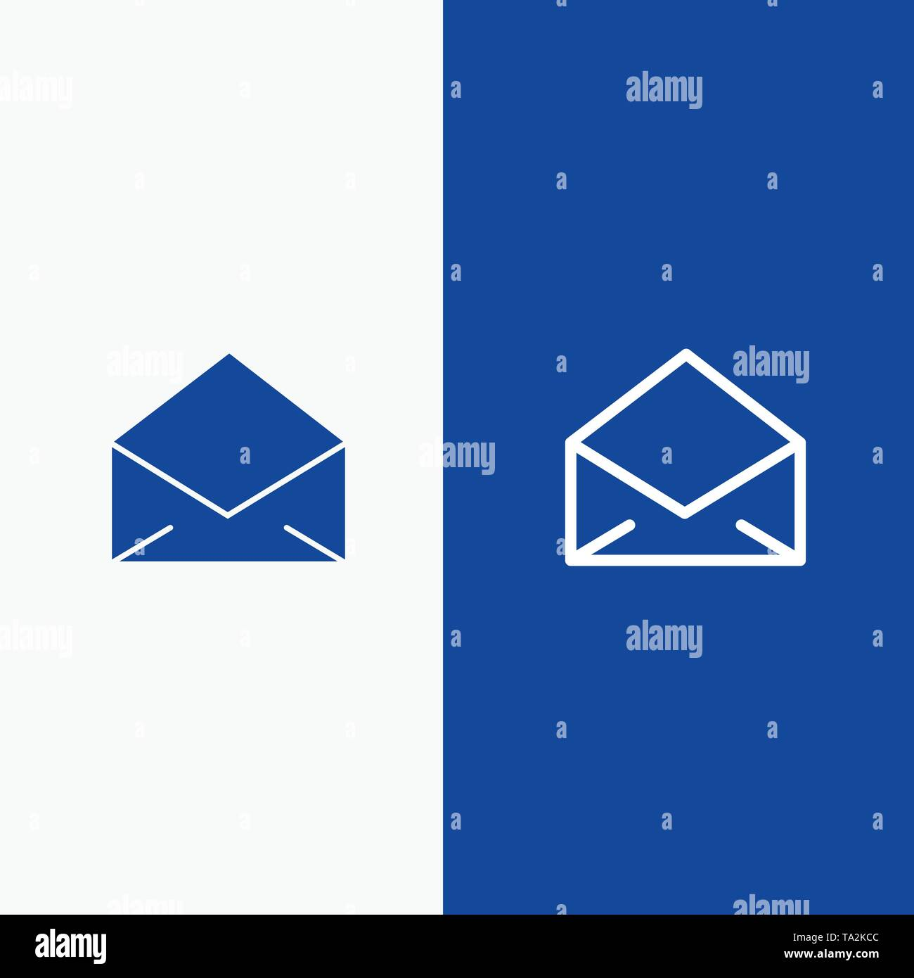 Email, Mail, Message, Open Line and Glyph Solid icon Blue banner Line and Glyph Solid icon Blue banner - Stock Image