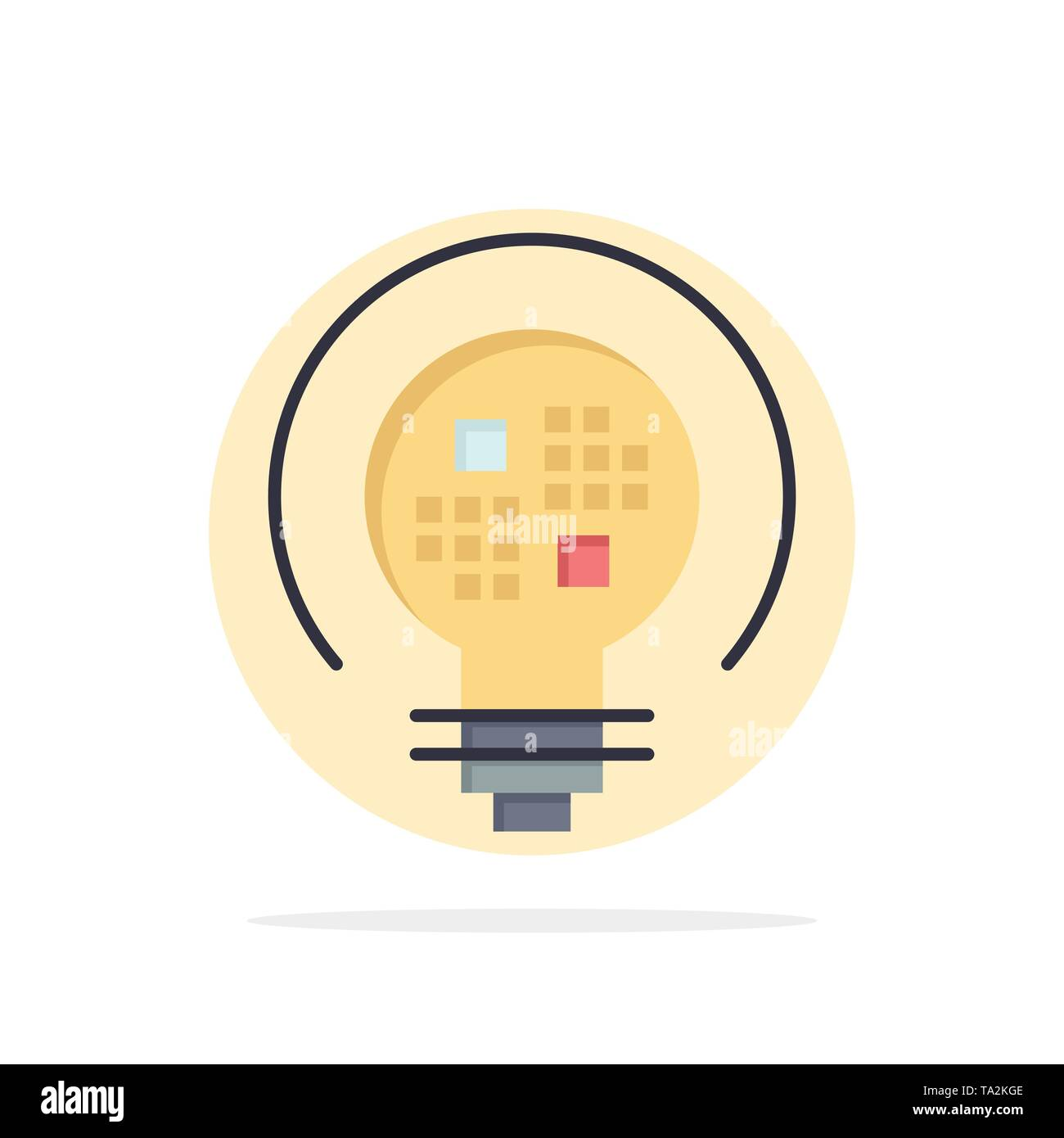 Data, Insight, Light, Bulb Abstract Circle Background Flat color Icon - Stock Image