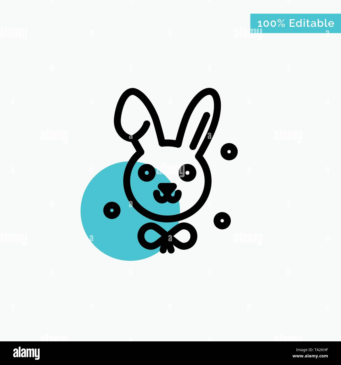 Bunny, Easter, Rabbit turquoise highlight circle point Vector icon - Stock Image