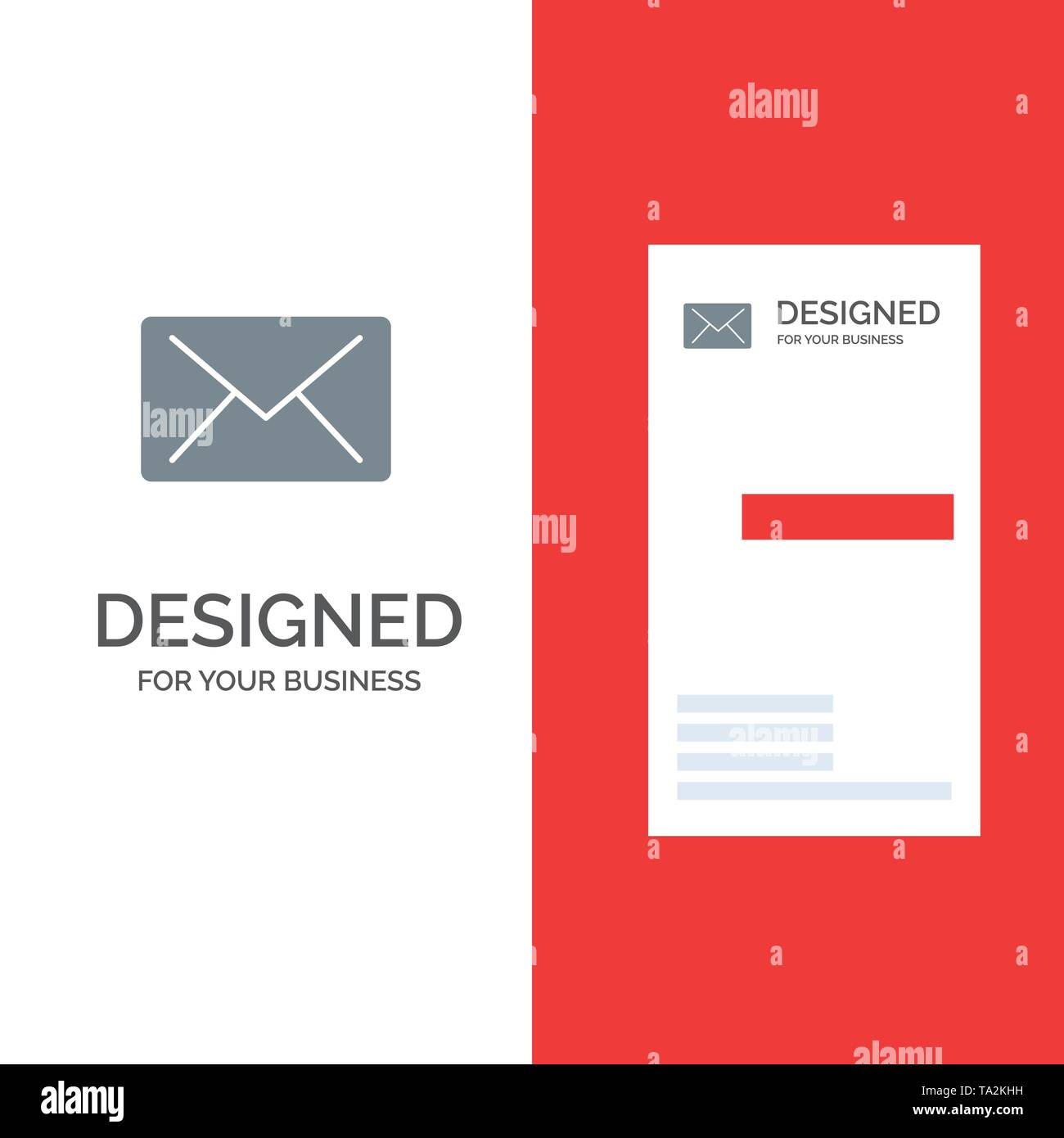 Email, Mail, Message Grey Logo Design and Business Card Template - Stock Image