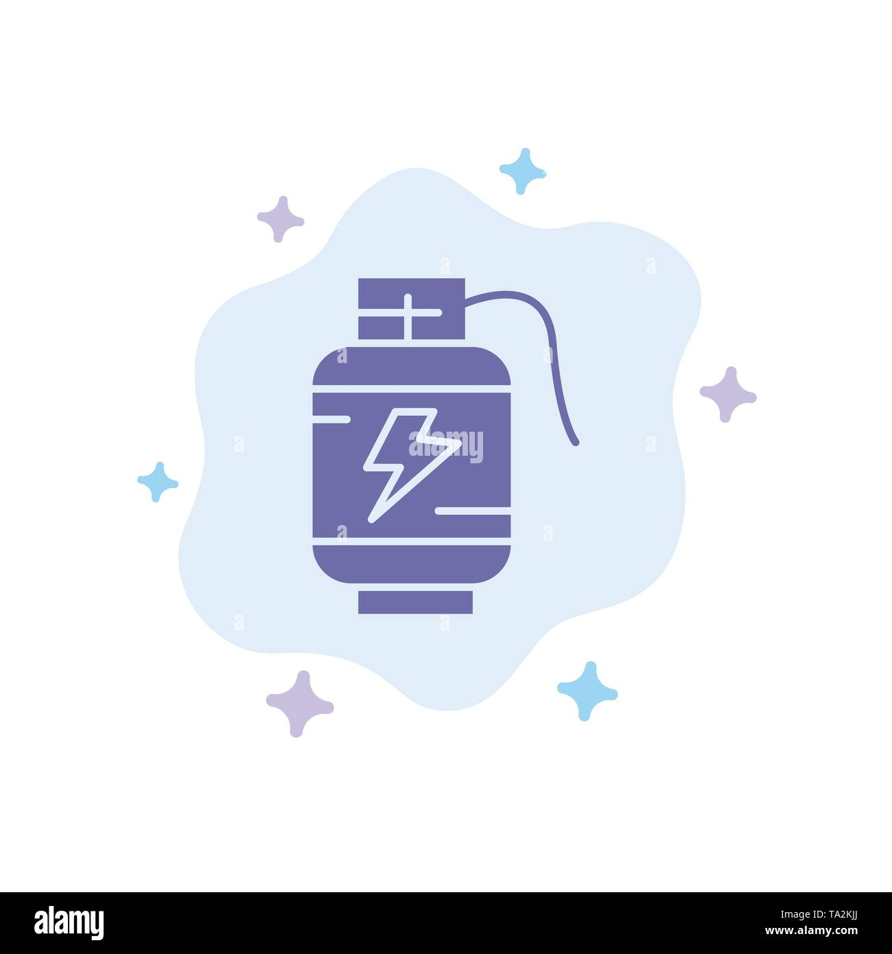 Accumulator, Battery, Power, Charge Blue Icon on Abstract Cloud Background - Stock Image