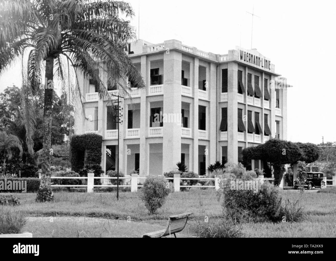 The headquarters of the German import-export and shipping company Woermann in Duala. - Stock Image