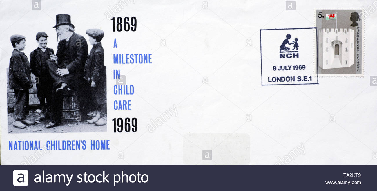 Post Office First Day Cover 1969, National Children's Home 100th Anniversary - Stock Image