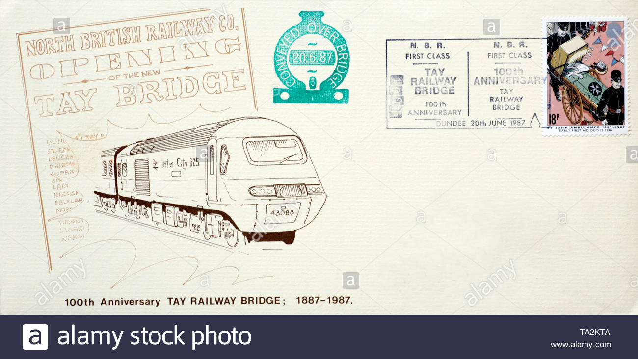 Post Office First Day Cover 1987, Tay Railway Bridge 100th  Anniversary - Stock Image