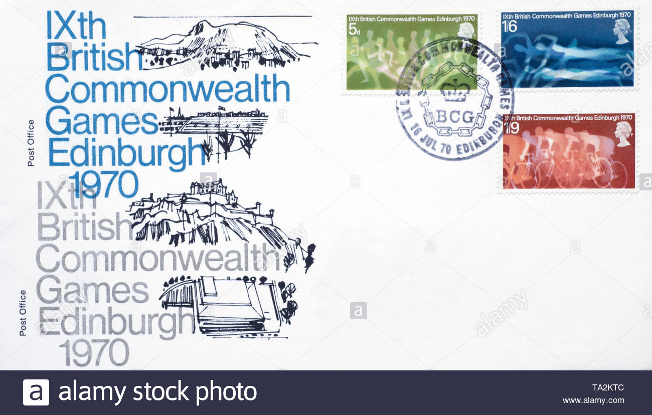 Post Office First Day Cover 1970, IXth Commonwealth Games Edinburgh - Stock Image