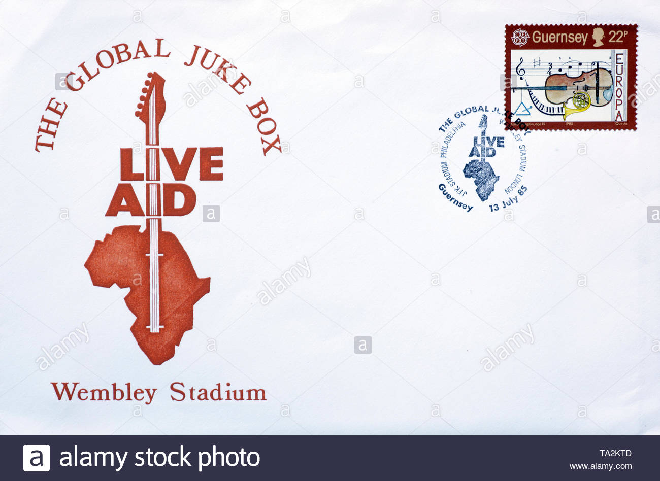 Post Office First Day Cover 1985, Live Aid Wembley Stadium - Stock Image