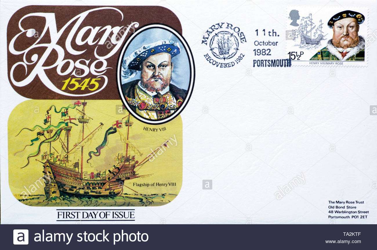 Post Office First Day Cover 1982, Mary Rose recovered 1982 - Stock Image