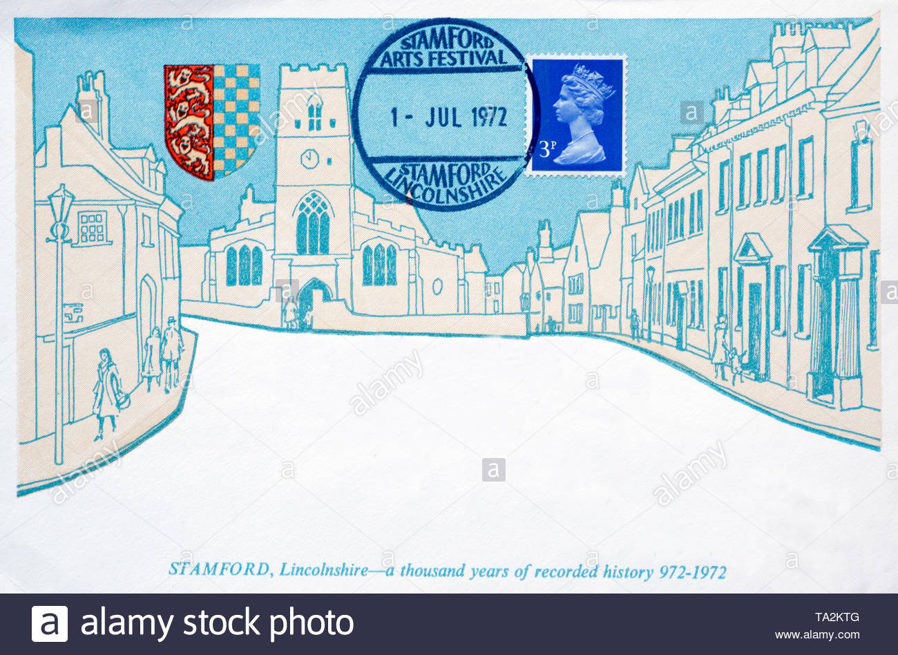 Post Office First Day Cover 1972, Stamford Arts Festival, a thousand years of recorded history - Stock Image