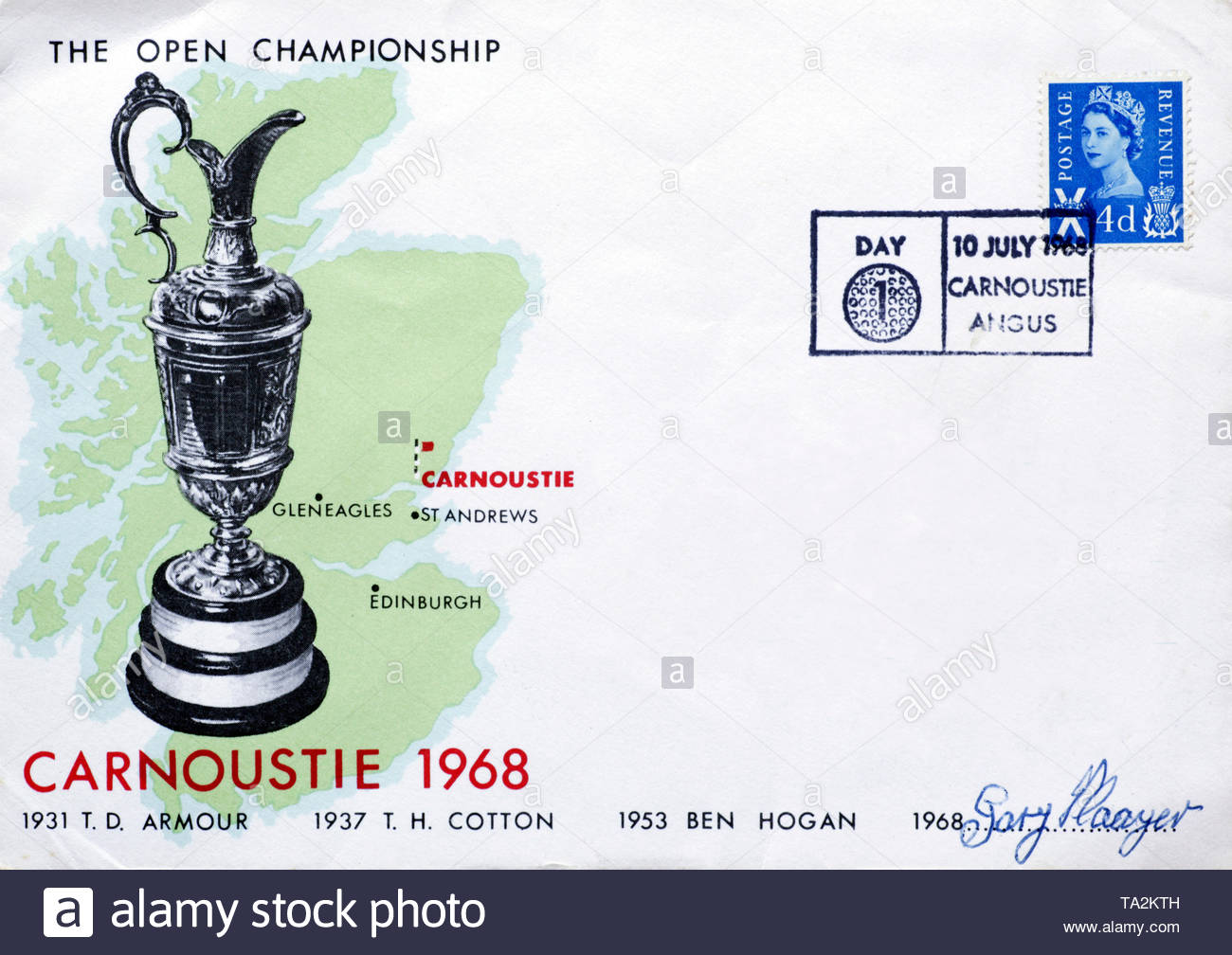 Post Office First Day Cover 1968, The Open Championship Carnoustie Scotland - Stock Image