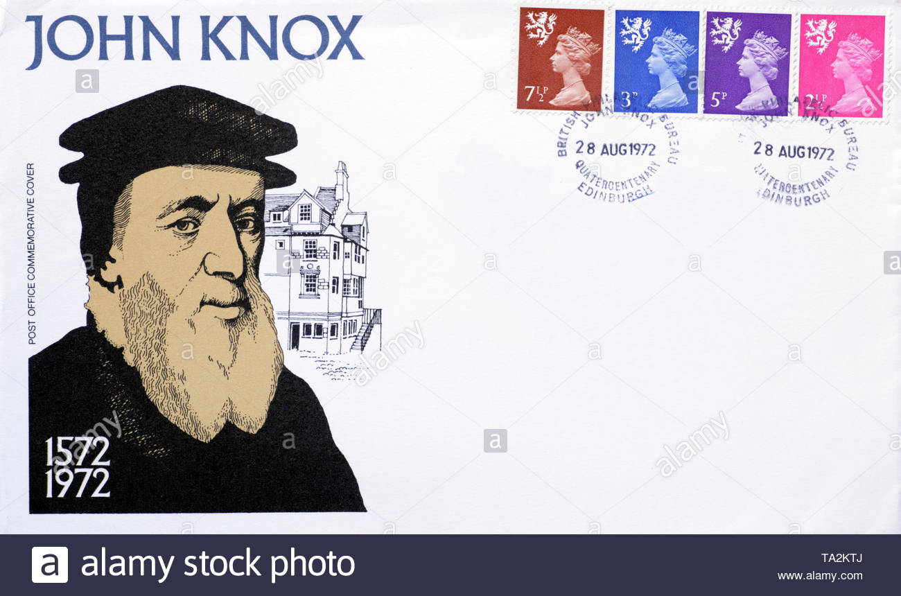 Post Office First Day Cover 1972, John Knox quatercentenary anniversary - Stock Image