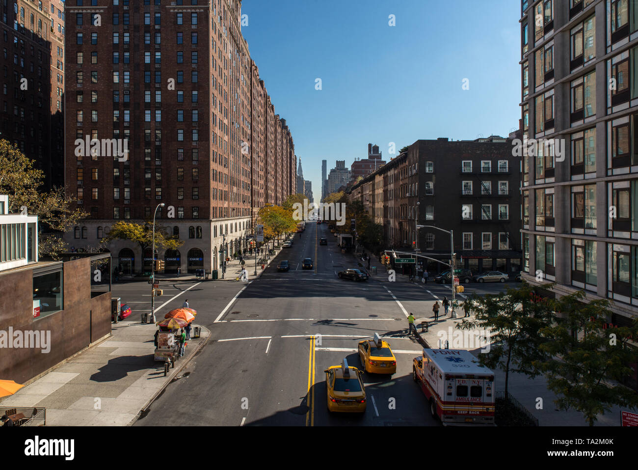 New York City at 23rd street and 10th avenue from the High Line, USA. Stock Photo
