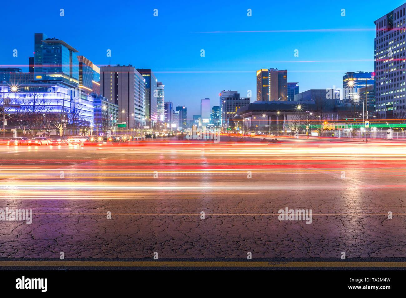SEOUL, KOREA - February 10, 2016: Seoul Cityscape in downtown and skyscraper , South Korea. - Stock Image