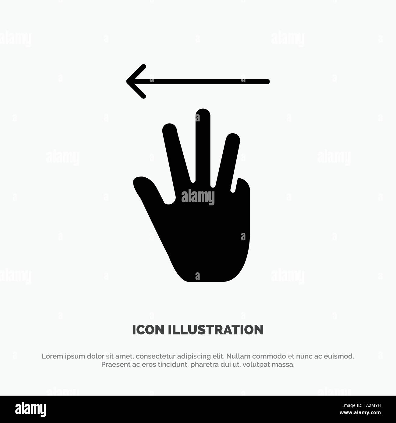 Hand, Hand Cursor, Up, Left solid Glyph Icon vector - Stock Image