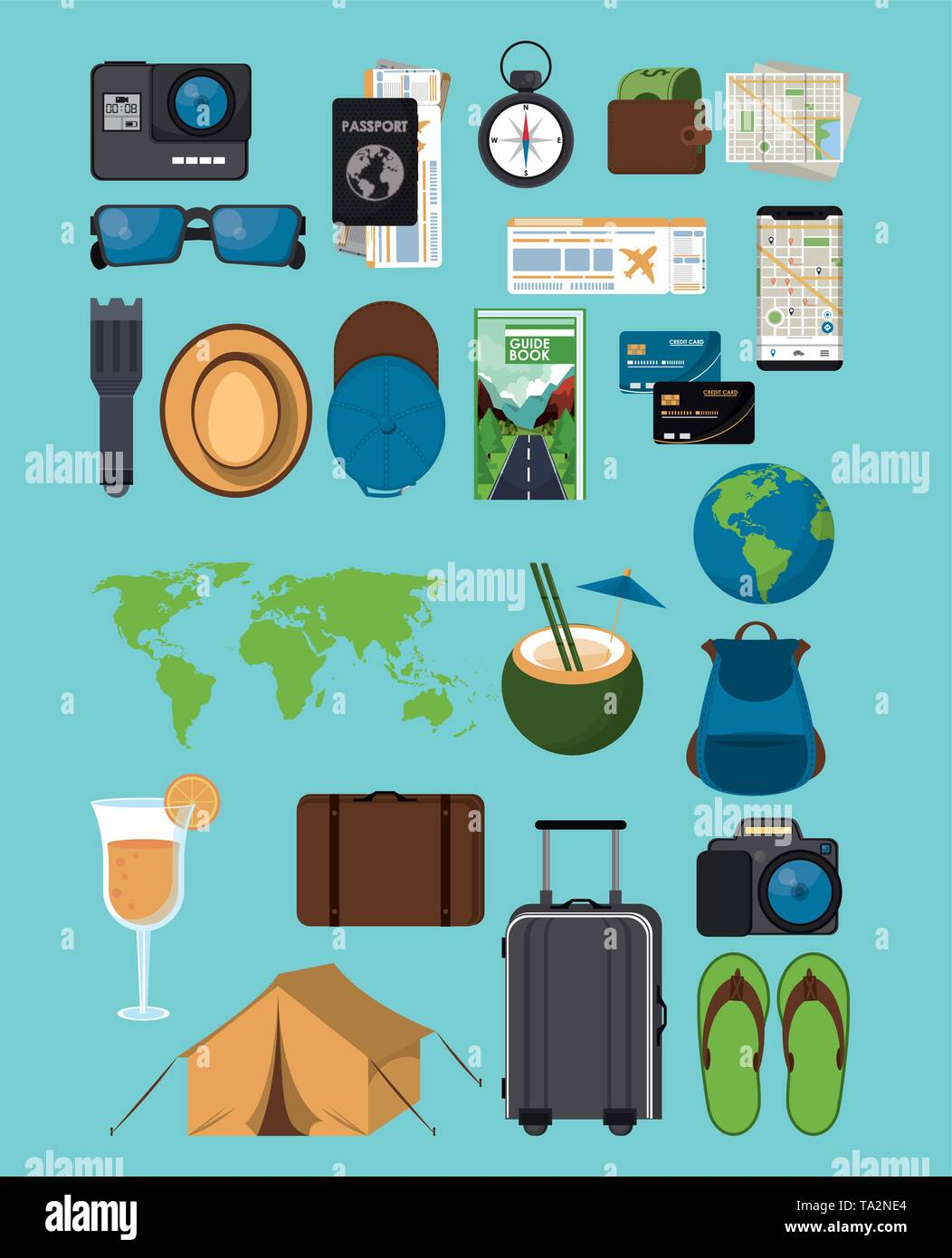 Travel and tourism icons - Stock Image