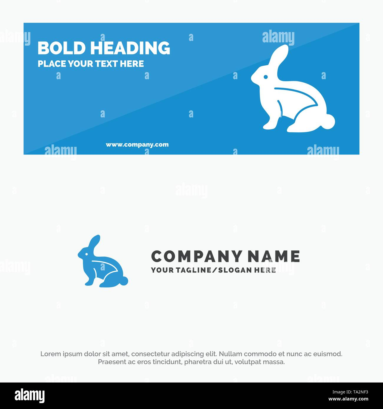 Bunny, Easter, Easter Bunny, Rabbit SOlid Icon Website Banner and Business Logo Template - Stock Image